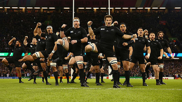 All Blacks performing a Haka dance before a rugby match