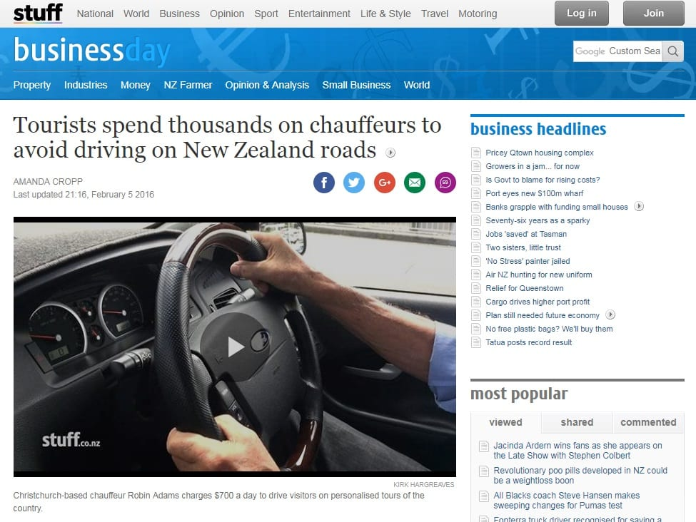 The Road Trip feature on Stuff.co.nz