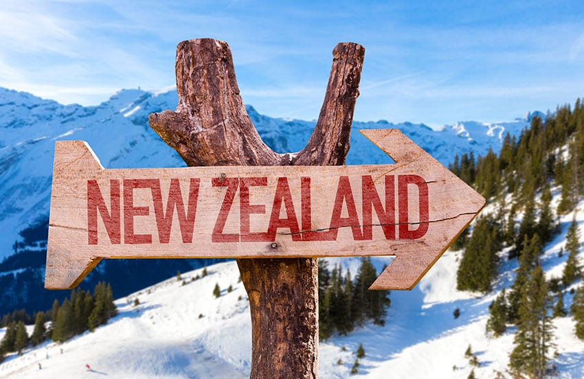 New Zealand wooden sign with winter background