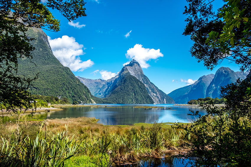 Mirror Lakes along the way to Milford Sound, New Zealand. Mitre Peak in New Zealand at low tide