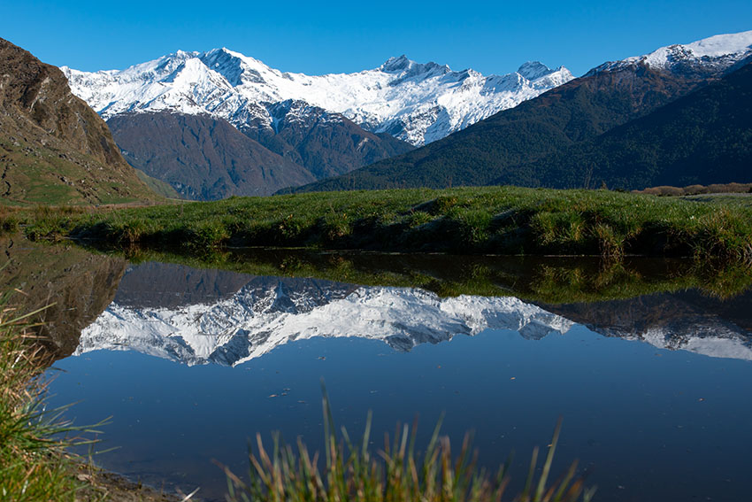 Stunning natural scenery in Mount Aspiring national park beneath